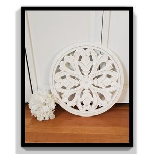 Other - White Floral Wood Decor